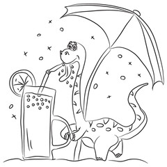 Coloring page outline of cartoon cute dinosaur drinking fresh juice under an umbrella. Vector illustration, summer coloring book for kids.