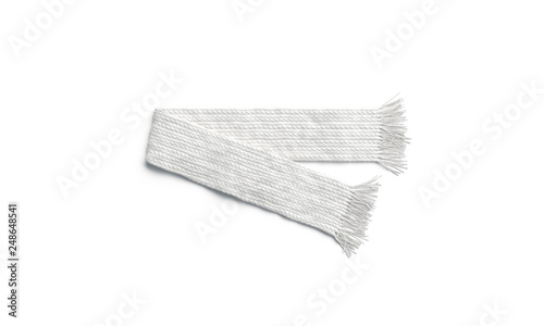 Leinwanddruck Bild Blank white knitted scarf folded mock up, isolated, 3d rendering. Empty winter or autumn accessory mockup, top view. Clear soft neckerchief for print design template.