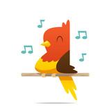 Cartoon happy bird vector isolated illustration