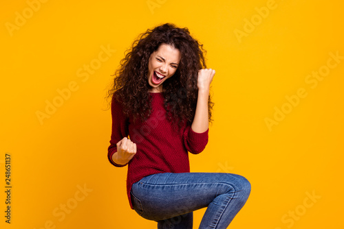 Leinwanddruck Bild Close up photo amazing beautiful her she lady all possible yell voice raised fists hip in delight like rock star guitar wear red knitted sweater pullover clothes outfit isolated yellow background