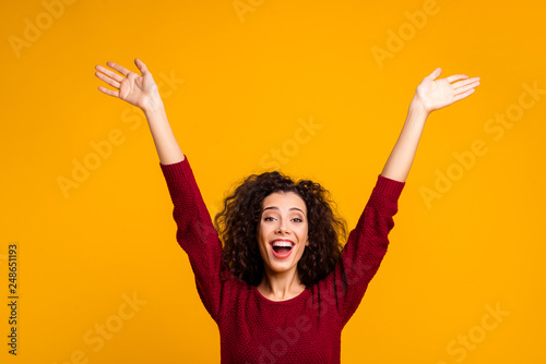 Leinwanddruck Bild Close up photo amazing beautiful her she lady raised hands palms in air all possible just keep believe wearing red knitted sweater pullover clothes outfit isolated yellow background