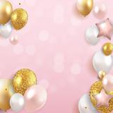 Glossy Happy Birthday Balloons Background Vector Illustration - 248655166