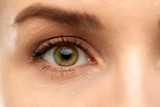 vision, sight and people concept - close up of woman eye
