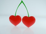 Two Hearts concept on Cherries stalks