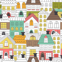 seamless pattern coloring houses - vector illustration, eps