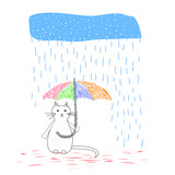 The cat is hiding from the rain under an umbrella. Hand written postcard. Cute simple vector.
