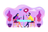 Happy couple in love on romantic date sitting at table and drinking wine, tiny people. Romantic date, romantic relationship, love story concept. Bright vibrant violet vector isolated illustration - 248666969