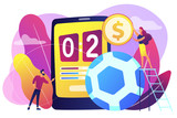 Tiny people, businessman betting on football and bookmaker at big smartphone with score. Sports betting, bookmaker market, sports wagering concept. Bright vibrant violet vector isolated illustration