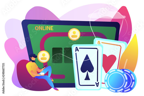 Businessman with smartphone playing poker online and casino table with cards and chips. Online poker, internet gambling, online casino rooms concept. Bright vibrant violet vector isolated illustration