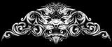 Graphic detailed decorative white lion head with ornate. On black background. Vector icon.