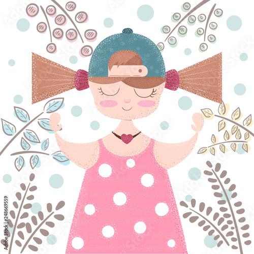 Cute, beautifu girl - cartoon illustration © HandDraw