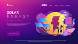 Businessmen use solar energy panels to produce electricity for the city. Solar energy, solar power plant, alternative source of electricity concept. Website vibrant violet landing web page template. - 248670506