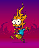 Cartoon smiling funny running fire character. On violet background. Vector icon.