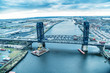 Bridge on Hackensack River, aerial view of Jersey City