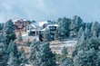 Large family homes in luxury development with snow spruce trees, Rocky Mountains, Colorado, USA
