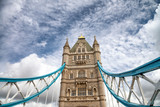 Beautiful structure of Tower Bridge against cloudy sky, London