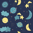 Draw seamless pattern, set background with sky, cloud, stars, celebrities, planet, earth, moon, luna, emotion and many details.For printing, website, presentation element, textile. Vector illustration