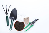 Garden tools with ground in pot on white background