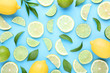 Ripe lemons and limes with green leafs on blue background