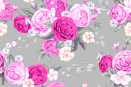 Seamless pattern with vintage pale roses