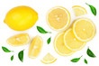 Leinwanddruck Bild - lemon and slices with leaf isolated on white background. Flat lay, top view