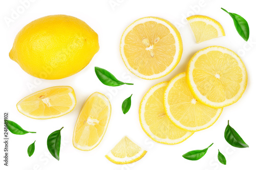 Leinwanddruck Bild lemon and slices with leaf isolated on white background. Flat lay, top view