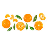 tangerine or mandarin with leaves isolated on white background with copy space for your text. Top view. Flat lay