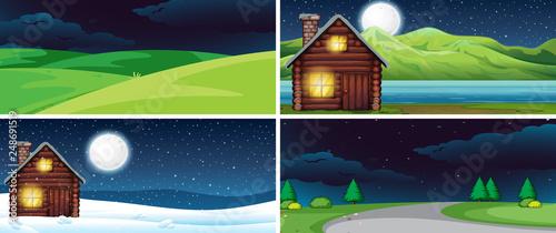 Set of nature landscape at night - 248691519