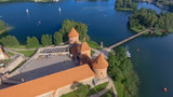 Aerial view of Trakai Castle at sunset, Lithuania - 248693514