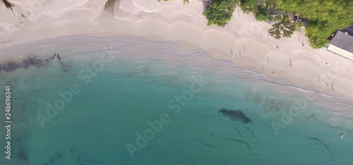 Overhead aerial view of Seychelles Beach - 248696341