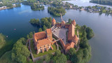 Trakai Castle aerial view on a beautiful summer sunset, Lithuania - 248696530
