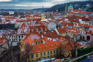 beautiful aerial scene of Prague city in winter, Czech Republic, Europe