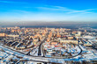 Aerial view of the modern city district. Winter, sunny day - 248706105