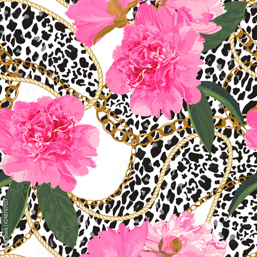 Seamless pattern with gold chain, animal leopard elements and peonies. Vector illustration - 248707527