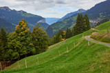 Mountain view with green meadows on the mountainsides near Wengen village in Switzerland. - 248708798