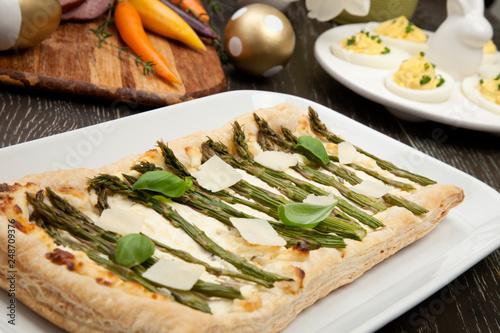 Leinwanddruck Bild Asparagus Parmesan Puff Pastry