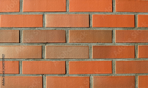 Old red brick and white plaster wall with cracked shabby surface texture background.Background and texture for text or image.  - 248709937