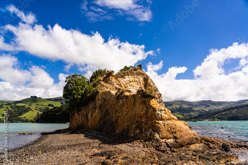 Foto Murales view from the onawe track in New Zealand, amazing ocean bay in akaroa New Zealand, onawe walkway with beautiful nature and blue water, great New Zealand nature photography, nature background