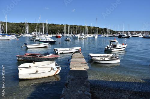 Boats and yachts in Marina Veruda, Pula town, Istria region, Adriatic seashore, Croatia
