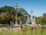 View of the Sanctuary of the Virgin Mary in Lourdes, France. - 248721570