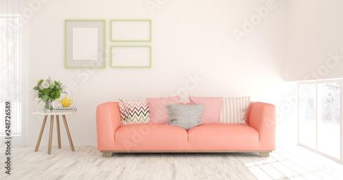 Leinwandbild Motiv White stylish minimalist room in hight resolution with coral sofa. Scandinavian interior design. 3D illustration
