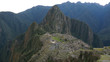 Ancient Inca Town of Machu Picchu in the Andes mountains seen from the Salkantay Trek near Cusco, Peru.