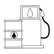 Eco green fuel barrels and dispenser black and white