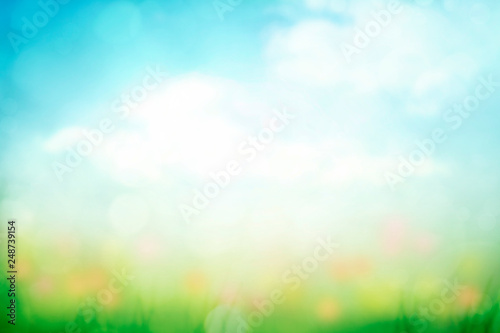 abstract nature spring background with green grass and blue sky © Mariusz Blach