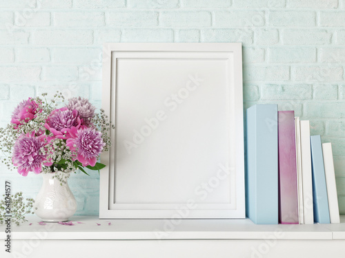 Mock up poster, hipster background, flowers and books, 3d render, 3d illustration - 248741577