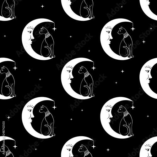 fototapeta na ścianę Cat sitting on moon. Night sky seamless pattern background. Cute magic, occult design. Vector