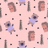 Scandinavian woodland seamless pattern with cute bear and hedgehog.