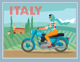A girl on a motorcycle rides on the background of a rural Italian landscape. Vector graphics