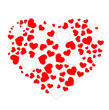 Heart shape with red and white hearts - 248758537