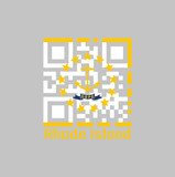QR code set the color of Rhode Island flag. The states of America. Gold anchor, surrounded by 13 gold stars on white. A blue ribbon below the anchor contains.